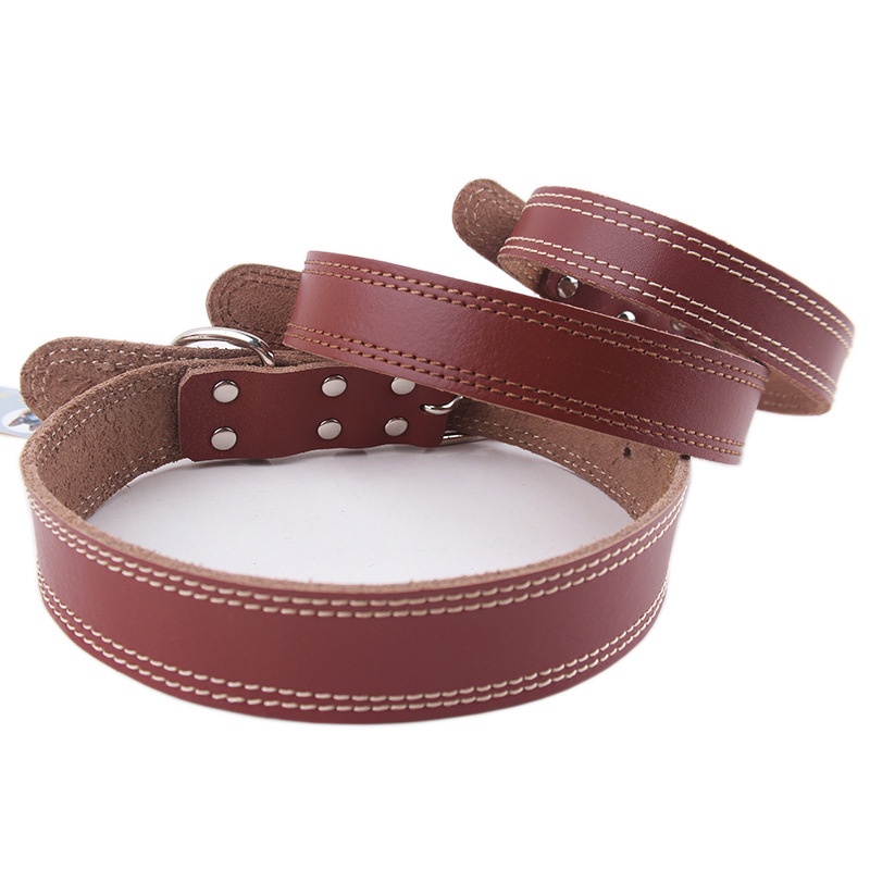 High Quality Real Cow Leather Dog Collars 2015 New Listing Small Medium Large Dog Leash S M L 3 Size Pet Collars Free Shipping