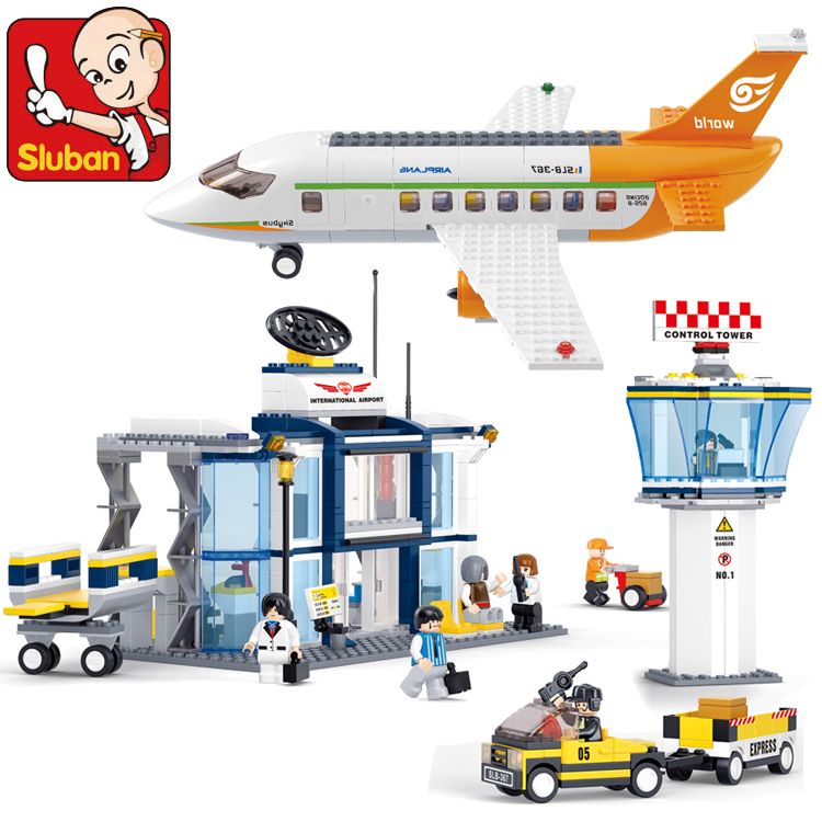 Sluban Model building kits compatible with lego city plane Airport 845 3D blocks Educational toys hobbies for children 026 gudi block city large passenger plane airplane block assembly compatible all brand building blocks educational toys for children