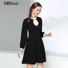 chic 2018 Winter black/Apricot Sweater Dress Women o-neck Long Sleeve Knitted thick Fashion Dress female slim girl short dress(China)