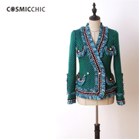 2017 Runway Luxury Fashion Green Tweed Suit Jacket Fringed Trim Long Flared Sleeves Front Pockets With Pearls Detail LY083