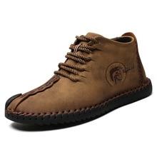 Fashion Men Leather Boots High Quality Split Leather Ankle Snow Boots Warm Fur Plush Lace-Up Mens Winter Shoes Plus size 38~48 все цены