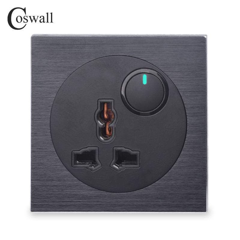 Coswall Black Aluminum Panel Universal Wall Socket Outlet 1 Gang 2 Way On / Off Pass Through Light Switch Switched LED Indicator