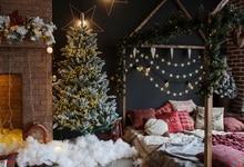 Laeacco Lareira Decoração Da Árvore de Natal Cama Cena Fotografia Bebê Backdrops Para Estúdio de Fotografia Fundo Fotográfico Personalizado