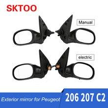 Skate para peugeot 206 207 citroen c2, espelho retrovisor elétrico manual de montagem