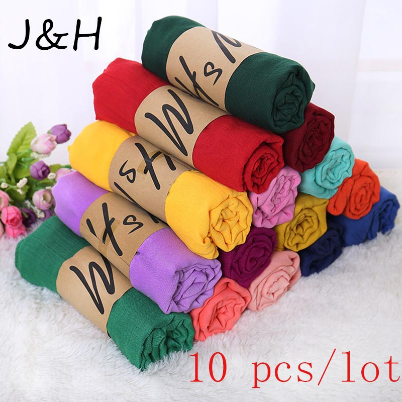 10 PCS/lot Plain Wrap Bubble Cotton Viscose Long Shawl Scarf Women Crinkled Hijab Shawl Muslim Head Hijab Scarf Wholesale