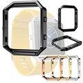 Preto/Prata/Rosegold/Relógio do Aço Inoxidável da Cor do Ouro Substituir Conectar Caso Armação de Metal Para Fitbit Blaze FBBZSSCC