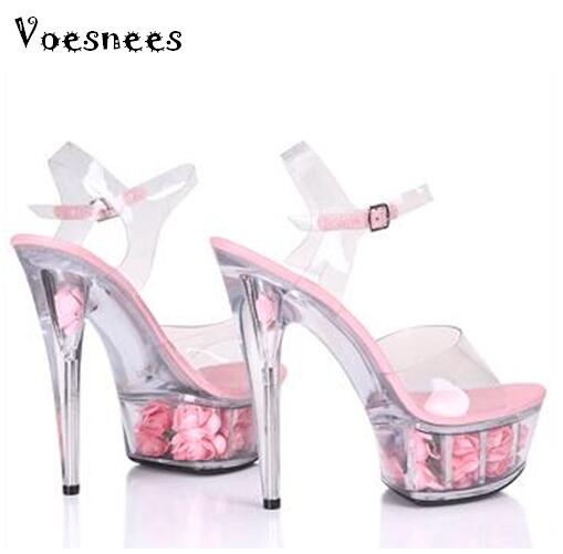 Steel Pipe Dance Shoes 2017 New Crystal Transparent Sandals Waterproof Rose  Flowers Super High Heel 15cm Female Shoes-in High Heels from Shoes on ... a1c4da655037