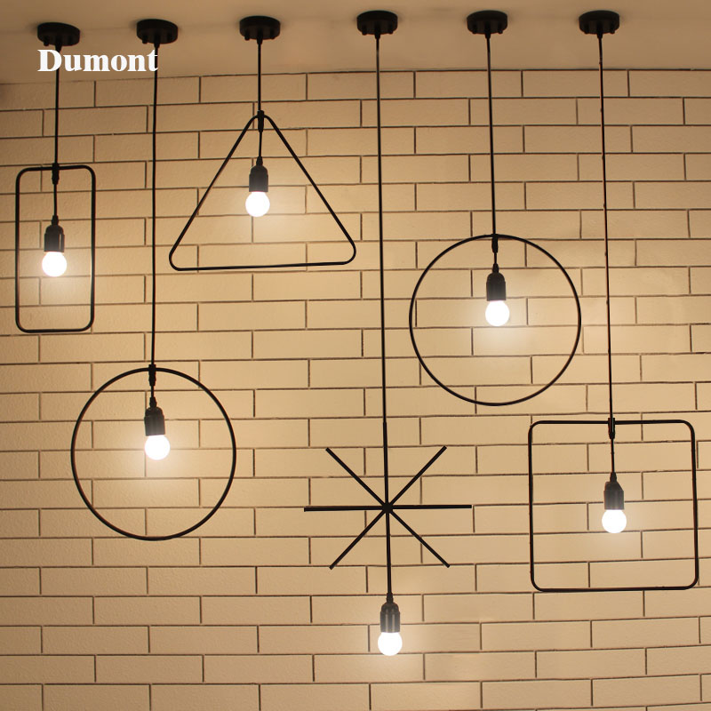 ФОТО Free Shipping One Sample Order New Style Geometrical Figure Simple Iron Black Finished Pendant Lamps(DK-60)