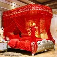 Роскошный красный U Тип дворец Стиль направляющая три открытых двери телескопическая москитная сетка 1,8 м 1,5 м 2 м кровать содержит москитную