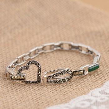 FNJ 925 Silver Bracelet Natural Stone MARCASITE 16cm Chain S925 Thai Silver Bracelets for Women Jewelry