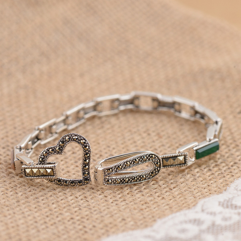 925 Silver Bracelet: GZ 925 Silver Bracelet Natural Stone MARCASITE 16cm Chain