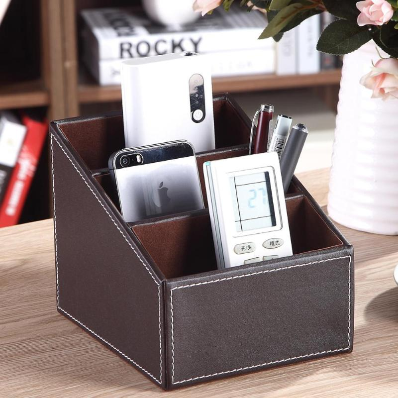 PU Leather Box Desk Organizer Pencils Storage Box Case Pen Holder Desktop Home Office Stationery Gift School Supplies pen pencil holder box full half pu leather case desk stationery organizer storage box desk accessories school