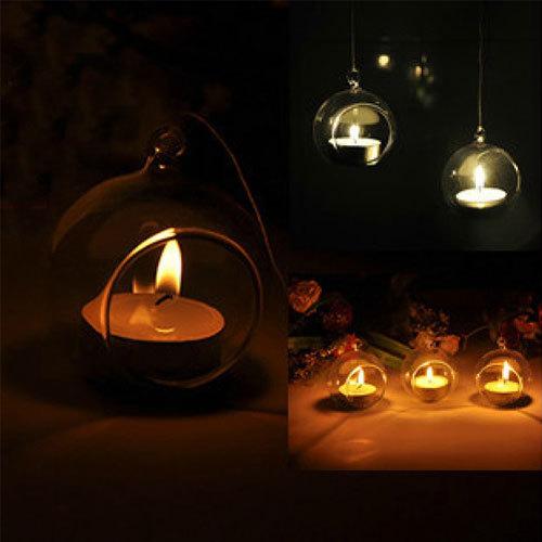 Crystal glass candlestick home decor