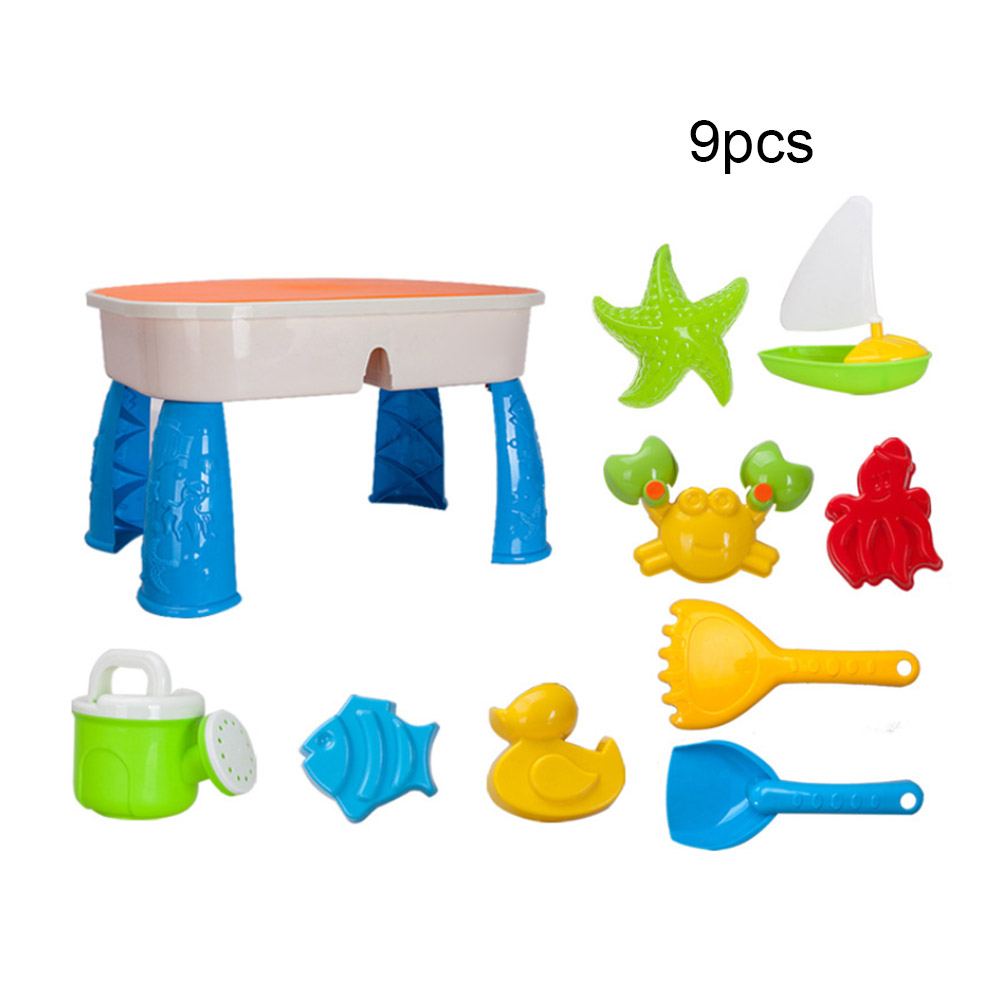 MrY 9PCS Children's  Sand Suit Beach Table Sand Clay Mold Digging Shovel Tools Portable Beach Sand Toys Water Playing Toy