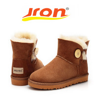 Jron Genuine Leather Woman Shearling Snow Boots Button Style Rubber Sole Anti Slip Function Warm Ankle