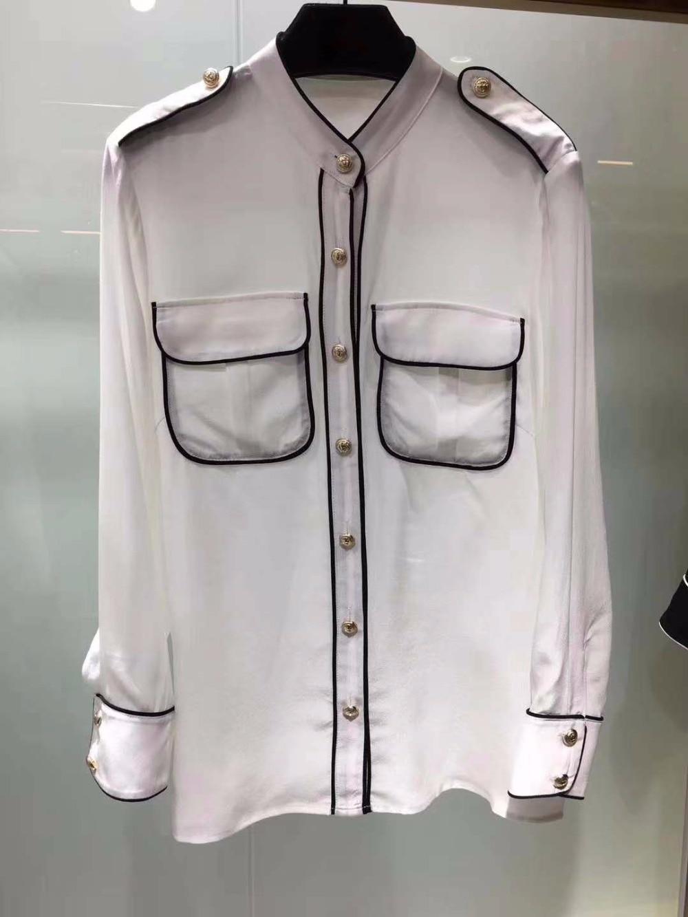 Camisa Oodji Negro Guapo Mujeres Seda Muy Blanco Textura De Mujer Y Tops La 2018 Blusas Buena Moda rBq1rw06