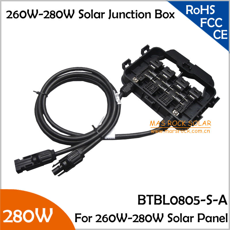 260-280W High Power Solar Junction Box with 6 Diodes, MC4 Connector, 90CM Cable, Plastc Plugs, 2pcs/Lot Waterproof Junction Box 4pcs a lot diy plastic enclosure for electronic handheld led junction box abs housing control box waterproof case 238 134 50mm