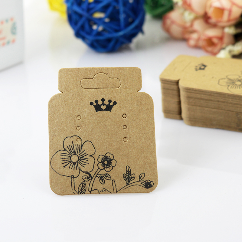 200Pcs/lot 43x52mm Brown Ear Studs Display Packaging Jewelry Cards Fashion Kraft Earrings Card Cute Jewelry Tags Free Shipping