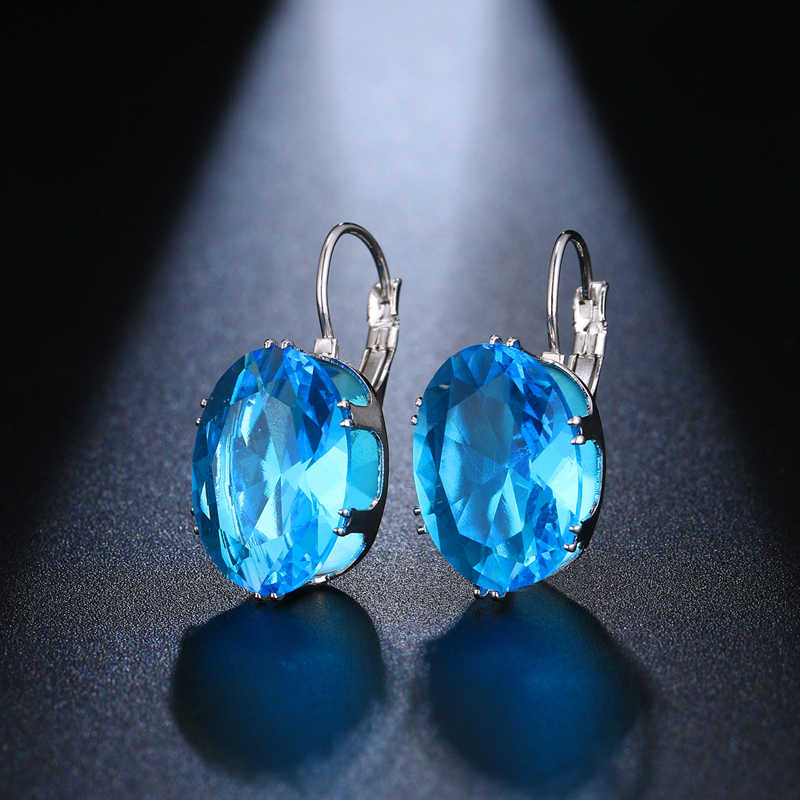 LZX Hot Jual Oval Bentuk Anting-Anting Kristal 5 Warna Batu Cubic Zirconia Hoop Anting-Anting untuk Wanita dan Wanita Fashion Pesta perhiasan