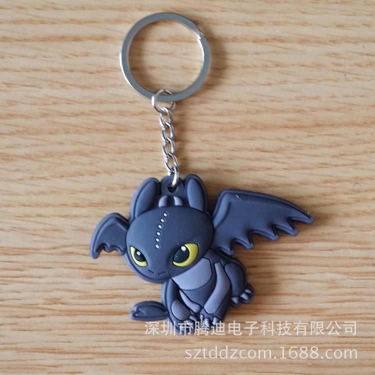 Como treinar O Seu Dragão fúria da noite Dos Desenhos Animados Keychain DO PVC Hideous Zippleback double-sided soft sleutelhanger Jóias Chaveiro brinquedos