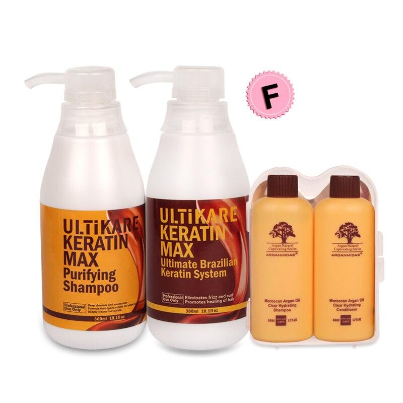 300 ml LIVRAISON FORMOL Brésilienne traitement kératine Redresser Cheveux + 300 ml Shampooing Purifiant Soin Profond + Livraison Un Ensemble D'argan produits