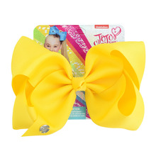 Jojo Siwa Hair clip Solid Color 8 Inch Large Bow Handmade Ribbed With Alligator Clip Children hair accessories