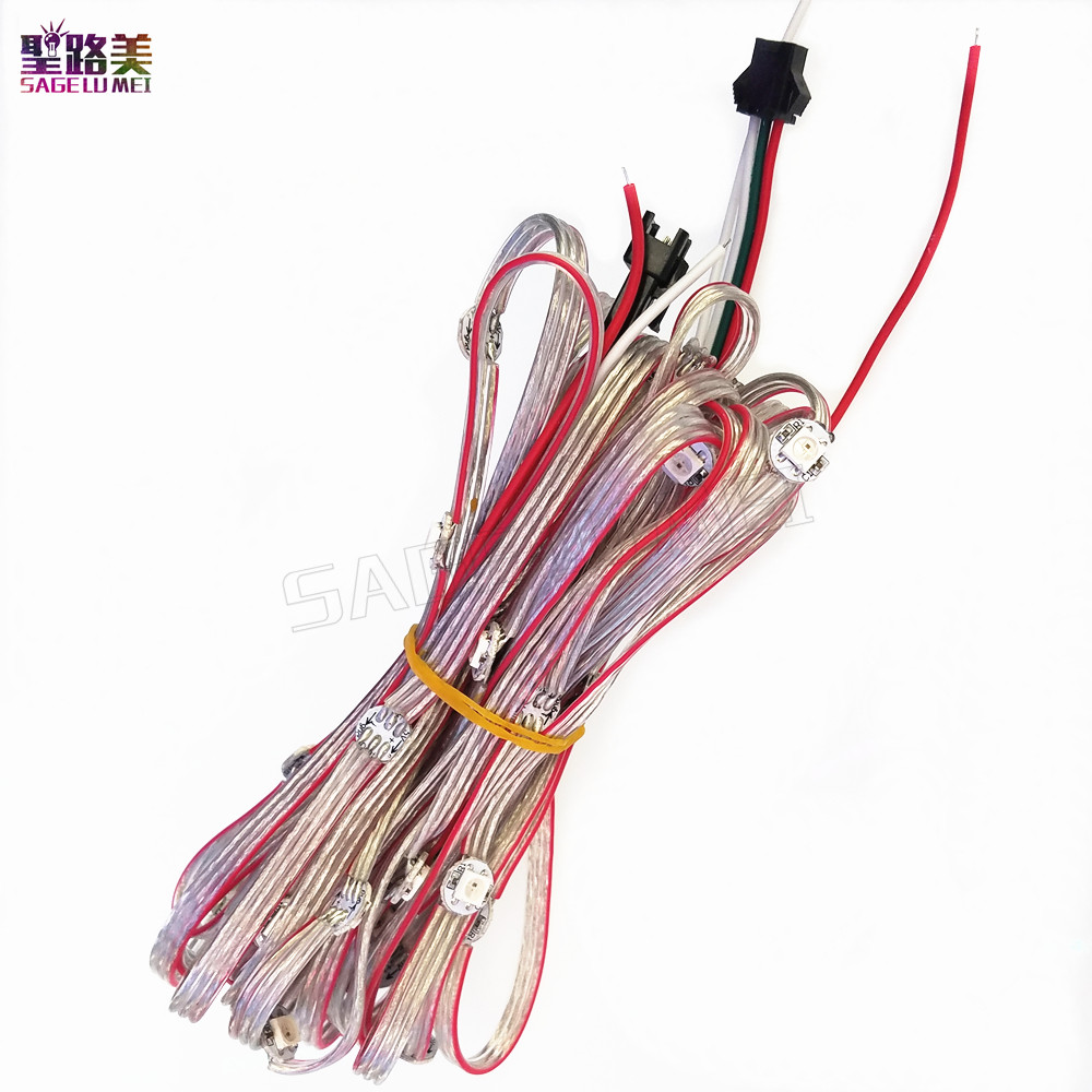 LED Full Color Light 5050 RGB WS2811 IC Built-in String Lighting Holiday 50 Pixels Pre-soldered WS2812B 2812 LED Heatsink DC5V
