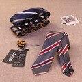 21 colores de Alta calidad de poliéster corbata de seda jacquard hombres corbatas diseñadores de moda trajes de negocios 6 cm flaco flor rayada 10 unids/lote