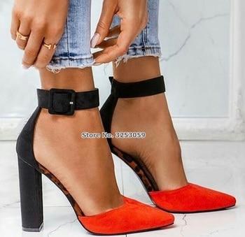 464f56c4 ALMUDENA mujeres negro gamuza grueso tacones puntiagudos rojos bombas  tobillo cuadrado hebilla vestido zapatos Color Patchwork zapatos de  banquete bomba