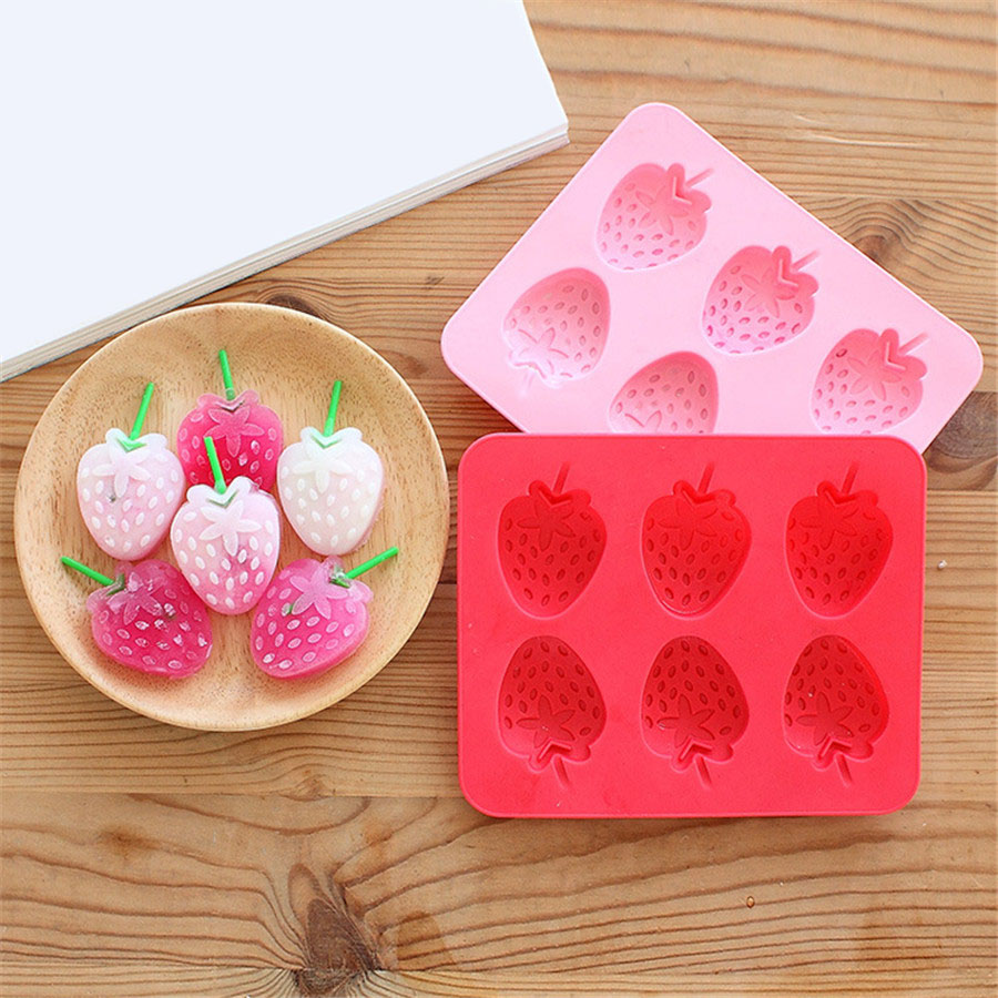 3pcs/set Strawberry Ice Tray Silicone Mold Cube Chocolate Fondant Tool Cream For Kids Summer Kitchen Accessory Summer Cool