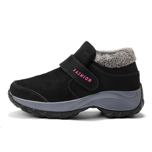 Image 3 - STQ 2020 חורף נשים שלג מגפי נשים נעלי פלטפורמה חמה שחור קרסול מגפי נקבה גבוהה טריז עמיד למים הליכה 1851