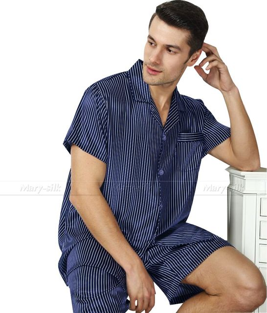 Mens de satén de seda pijamas cortos pijama pijama conjunto ropa de dormir conjunto Loungewear S ~ 3XL Plus__Gifts