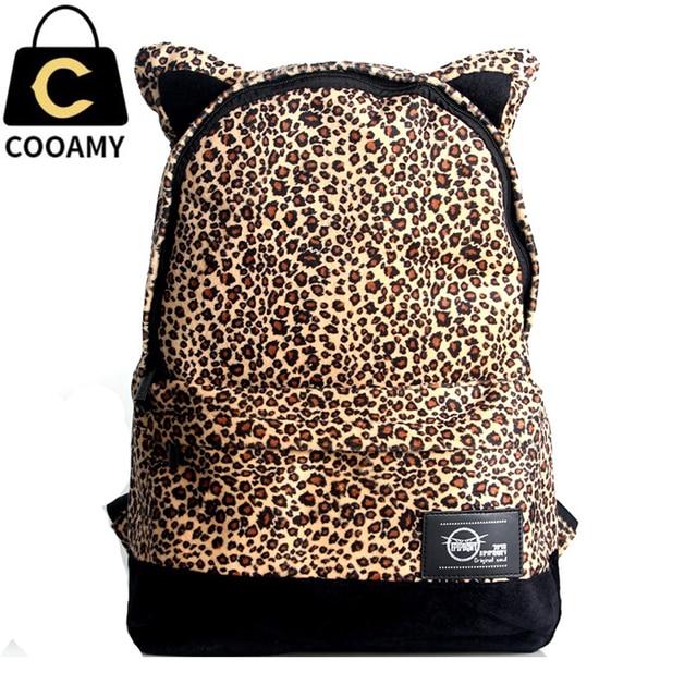 Moda mochilas escolares Mulheres lona Leopardo lazer malas de viagem mochilas escolares mochilas para meninas adolescentes do vintage