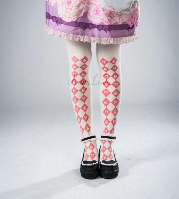 Princess sweet lolita pantyhose Original strawberry ReinaLolita ling printing tights lolita LKW223
