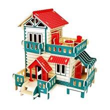 Brinquedos educativos 3d Puzzle Brinquedos De Madeira Diy Modelo de Montagem Casa Pequeno Edifício