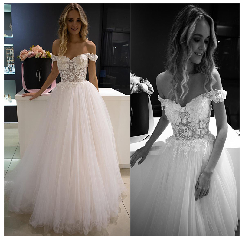 3D Flowers Wedding Dresses  Off The Shoulder Sweetheart Tulle Bridal Wedding Gowns Vestidos De Novia Long Train Bride Dress 2019