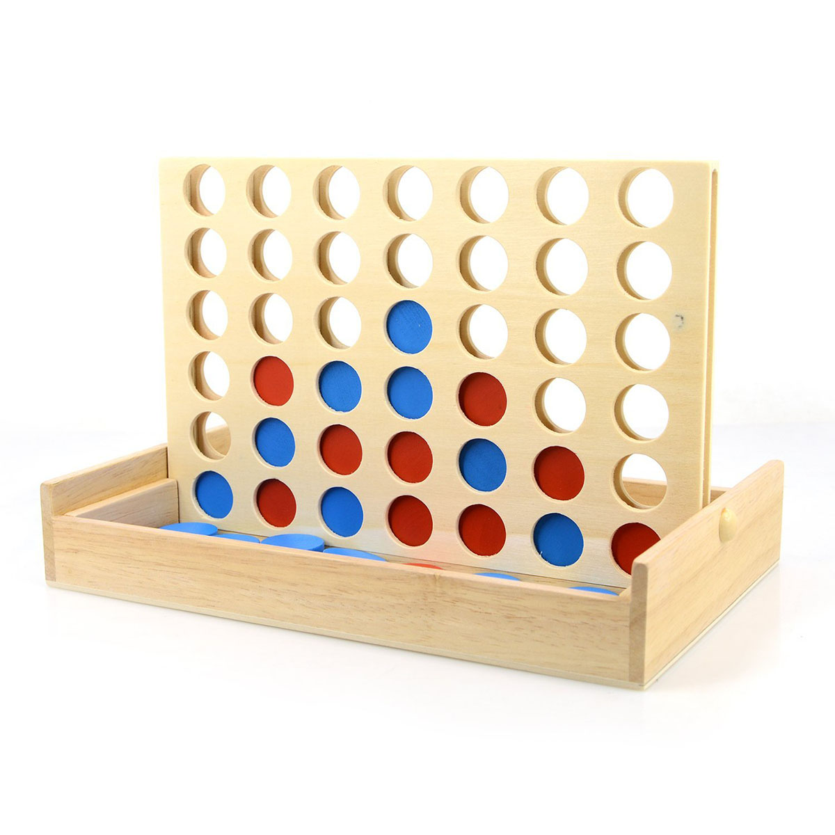 New Blue/Red Four In A Row Wooden Game Line Up 4 Fun