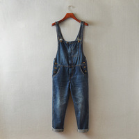 The Big European And American AA BF Loose High Waisted Jeans Slim Hole Cowboy Suspenders Trousers
