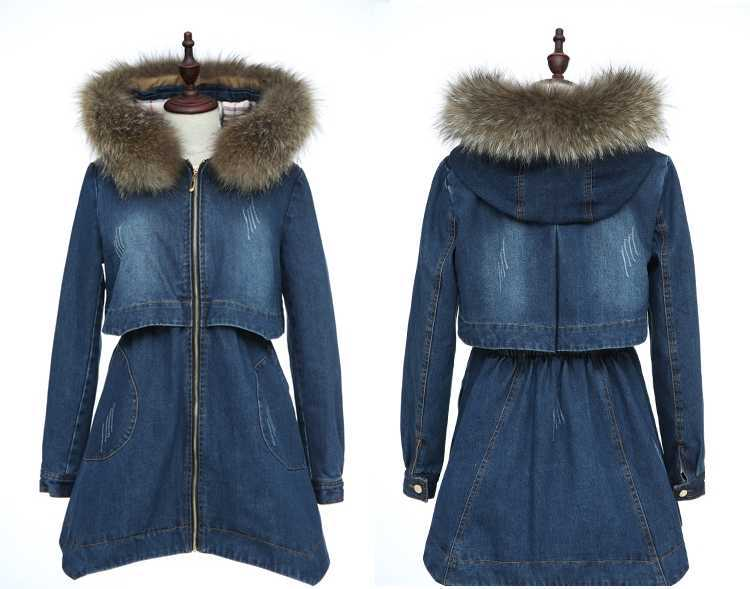 2015 Winter Jacket Women Cotton-Padded Jacket Women Fur Collar Ladies Winter Coat Thickening Outerwear Long Denim Parkas H4451 2015 winter jacket women cotton padded jacket women fur collar ladies winter coat thickening outerwear long denim parkas h4451