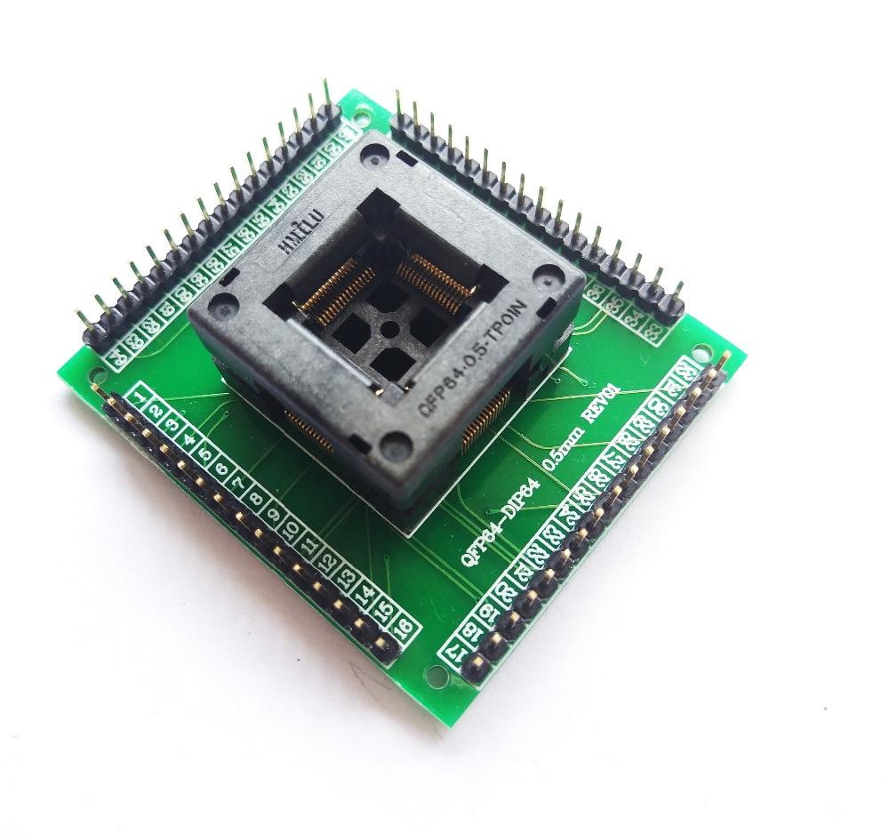 QFP64 TQFP64 LQFP64 гнездо адаптера IC тестовая розетка программист qfp64 гнездо tqfp6 программист adpters-in Интегральные схемы from Электронные компоненты и принадлежности on AliExpress