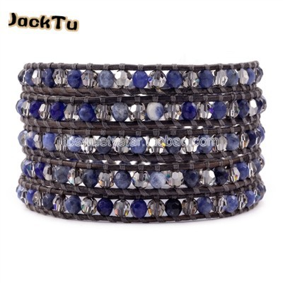 Горячий кристалл и содалит обернуть кожаный браслет - Окраска металла: sodalite