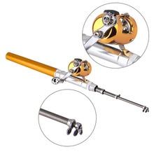 Portable Pocket Telescopic Mini Fishing Pole Aluminum Alloy Pen Shape Fishing Rod With Reel Wheel 6 Colors