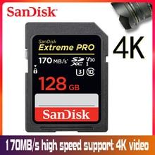 SanDisk 32 GB Extreme PRO SD card 64 GB 16 GB карта памяти 128 ГБ Sdcard 256 GB class 10 UHS-I высокое Скорость 95 МБ/с. V30 DSLR sd 32