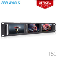 Feelworld T51 Triple 5 Inch 2RU LCD Rack Mount Monitor with 3G SDI HDMI AV Input and Output Broadcast Level Quality Monitors