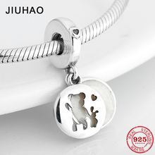 Fashion charms 925 Sterling Silver White Charms Enamel Hollow Bear Pendants Fit Original Pandora Bracelet Necklace Jewelry
