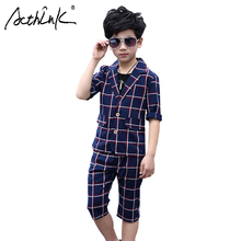 ActhInK New 2Pcs Boys Summer Tuxedos Kids Plaid Formal Suit Blazer Ankle-Length Pants