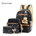 3Pcs/Sets Canvas Women Backpack girl student book bag with purse laptop bag high quality ladies school bag for teenagers mochila