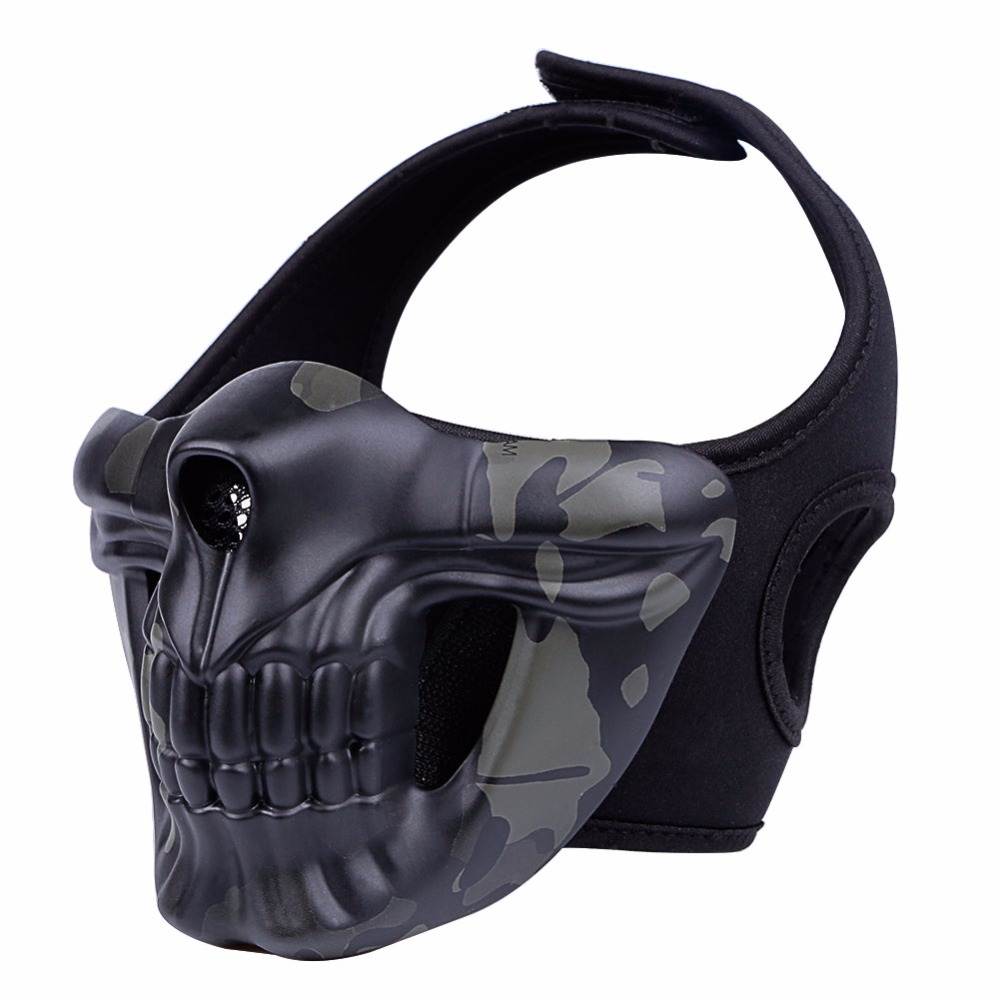 WoSporT Tactical Mask Paintball Protective Half Face Skull Mask For Airsoft Sports CS Wargame Cosplay