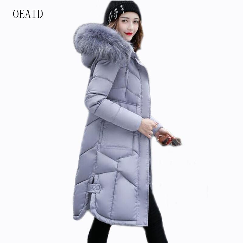 f742cc8016 OEAID Fashion Fur coat women parka 2018 Winter jacket Women jackets and  coats Long Thick Slim ladies coats gray Outerwear