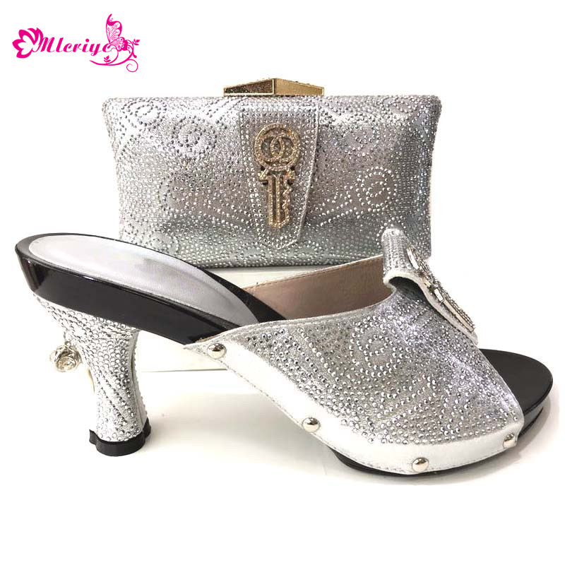 New coming African sandals Italian shoes and bag to match shoes with bag set wedges big size 43 silver Color women shoe with bag doershow shoe and bag to match italian african shoe and bag sets women shoe and bag to match for parties african shoe htx1 18